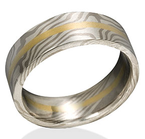 Maple Mokume in 14k Pd White Gold and Silver with 18k Yellow Gold Center Rail