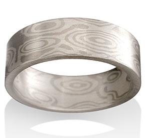 Mountain Mokume in 14k Pd White Gold and Silver