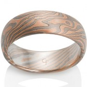 Oak Mokume in 14k Red Gold, Pd500 and Silver