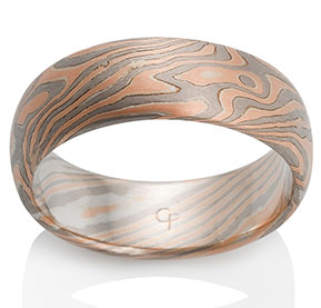 Oak Mokume in 14k Red Gold, 14k Pd White Gold and Silver