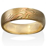 Oak Mokume in 18k Yellow Gold, 14k Red Gold and Silver