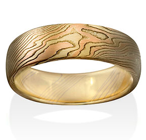 Oak Mokume in 14k Yellow Gold, 14k Red Gold and Silver