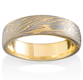 Oak Mokume in 14k Yellow Gold, 14k Pd White Gold and Silver