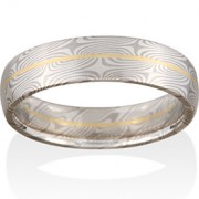 Spruce Mokume in 14k Pd White Gold and Silver with an 18k Yellow Gold Rail