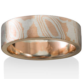 Valley Mokume in 14k Red Gold and Silver