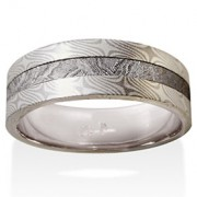 Willow Mokume in 14k Pd White Gold and Silver with Meteorite Inlay