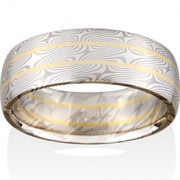 Willow Mokume in 14k Pd White Gold and Silver with 18k Yellow Gold Rails
