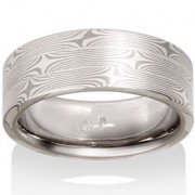 Willow Mokume in 14k Pd White Gold and Silver
