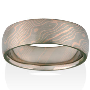 Aspen Mokume in 14k Pd White Gold and 14k Red Gold